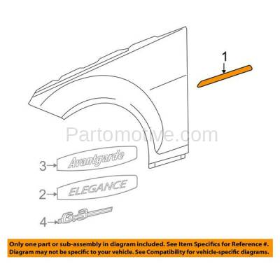 Aftermarket Replacement - FDT-1060R 08-11 C-Class Front Fender Molding Moulding Trim Right Passenger Side MB1293115 - Image 3