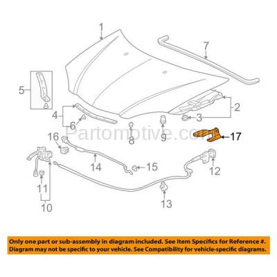Aftermarket Replacement - HDH-1002R 2002-2006 Acura RSX (Base & Type-S) 2-Door Coupe 2.0L Front Hood Hinge Bracket Made of Steel Right Passenger Side - Image 3