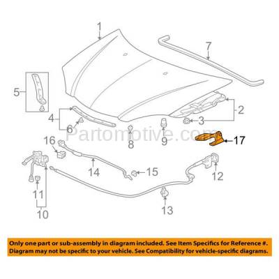 Aftermarket Replacement - HDH-1002L 2002-2006 Acura RSX (Base & Type-S) 2-Door Coupe 2.0L Front Hood Hinge Bracket Made of Steel Left Driver Side - Image 3