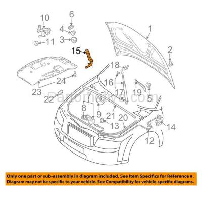 Aftermarket Replacement - HDH-1003L 2002-2008 Audi A4 & A4 Quattro & S4 (Sedan & Wagon 4-Door) Front Hood Hinge Bracket Made of Steel Left Driver Side - Image 3