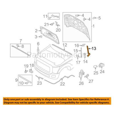 Aftermarket Replacement - HDH-1021L 2011-2016 Ford F-350 & F-350 Super Duty (Standard, Extended, Crew Cab) Front Hood Hinge Bracket Steel Left Driver Side - Image 3