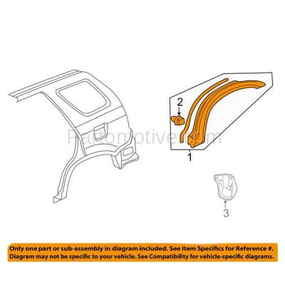 Aftermarket Replacement - FDT-1054R 05-06 CRV Rear Fender Molding Moulding Trim Arch Right Passenger Side HO1291106 - Image 3