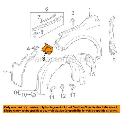 Aftermarket Replacement - FDS-1029R 13-16 Avalon Front Fender Brace Support Bracket Right Passenger Side TO1245108 - Image 3