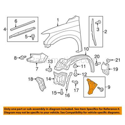 Aftermarket Replacement - FDS-1030L 14-17 Tundra Pickup Front Fender Brace Support Bracket LH Driver Side 521160C110 - Image 3
