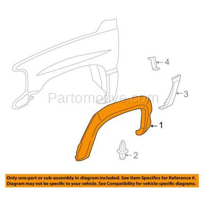 Aftermarket Replacement - FDT-1049R 99-02 Sierra & 00-06 Tahoe Front Fender Flare Molding Trim Right Passenger Side - Image 3