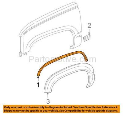 Aftermarket Replacement - FDT-1051R 88-02 C/K Truck Front Fender Molding Moulding Trim Chrome RH Right Side 15546444 - Image 3