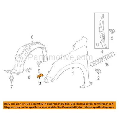 Aftermarket Replacement - FDS-1021R 13-17 Accord Front Fender Brace Support Bracket RH Passenger Side 60212T2AA00ZZ - Image 3