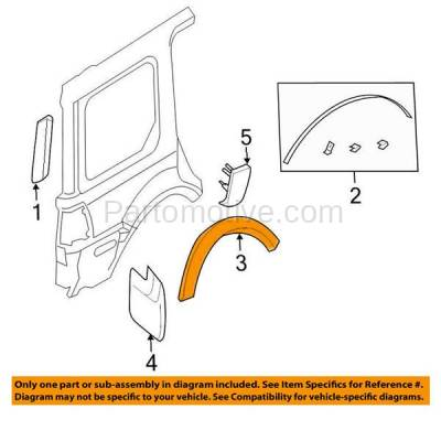Aftermarket Replacement - FDT-1024R 03-06 Expedition Rear Fender Molding Moulding Trim Arch Passenger Side FO1791111 - Image 3
