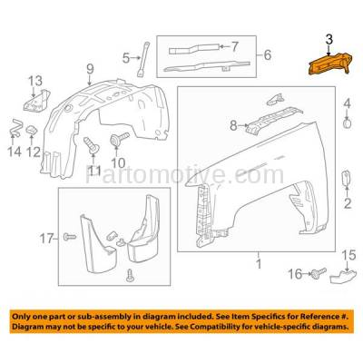 Aftermarket Replacement - FDS-1018R 14-17 Sierra Truck Front Fender Brace Support Bracket (Rear Section) Right Side - Image 3