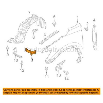 Aftermarket Replacement - FDS-1024R 14-16 Mazda3 Front Fender Brace Support Bracket Right Passenger Side MA1245101 - Image 3