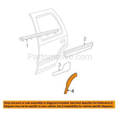Aftermarket Replacement - FDF-1041R 00-06 Chevy Tahoe Rear Fender Flare Wheel Opening Molding Trim RH Passenger Side - Image 3