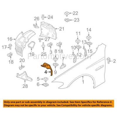 Aftermarket Replacement - FDS-1004L 11-16 5-Series Front Fender Brace Support Bracket Left Driver Side 41357207209 - Image 3
