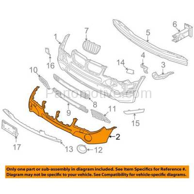 Aftermarket Replacement - BUC-1135FC CAPA 07-10 X3 E83 Front Upper Bumper Cover w/o M Sport BM1000216 51113423783 - Image 3