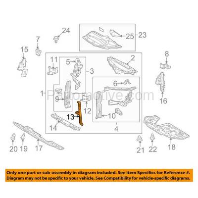 Aftermarket Replacement - RSP-1476 2010-2015 Lexus RX350 & RX450h (Base, F Sport, Sportdesign) 3.5L Front Radiator Support Center Hood Latch Lock Support Bracket Steel - Image 3