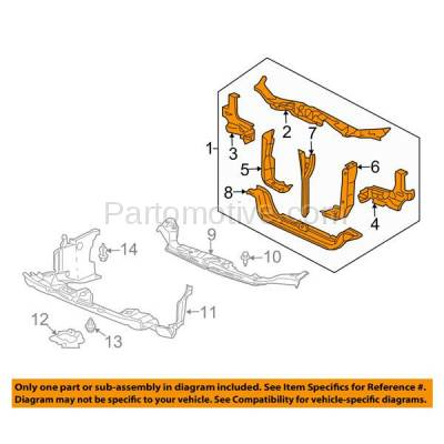 Aftermarket Replacement - RSP-1382 2008-2008 Honda Ridgeline Pickup Truck (EX-L, LX, RT, RTL, RTS, RTX) 3.5L Front Center Radiator Support Core Assembly Primed Steel - Image 3