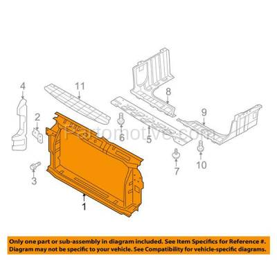 Aftermarket Replacement - RSP-1388 2014-2017 Hyundai Accent (Hatchback & Sedan 4-Door) (1.6L) Front Center Radiator Support Core Assembly Primed Made of Steel - Image 3