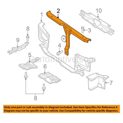 Aftermarket Replacement - RSP-1391 2001-2003 Hyundai Elantra (GLS, GT) Hatchback & Sedan (2.0L) Front Radiator Support Upper Crossmember Tie Bar Panel Primed Steel - Image 3