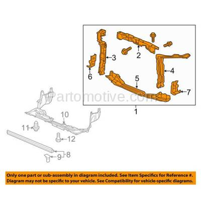 Aftermarket Replacement - RSP-1351 2012 Honda Civic (Coupe & Sedan) (1.5 & 1.8 & 2.4 Liter Engine) Front Center Radiator Support Core Assembly Primed Made of Steel - Image 3