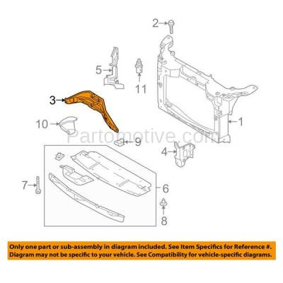 Aftermarket Replacement - RSP-1219 2008 2009 Ford Taurus/Taurus X & Mercury Sable (Sedan & Wagon) 3.5L Front Radiator Support Center Support Brace Panel Primed Steel - Image 3
