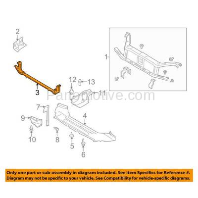 Aftermarket Replacement - RSP-1196 2008-2011 Ford Focus (Coupe & Hatchback & Sedan) Front Radiator Support Lower Crossmember Tie Bar Panel Primed Made of Steel - Image 3