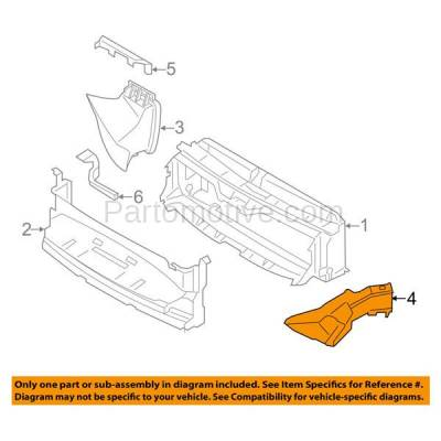 Aftermarket Replacement - RSP-1043L 14-18 4-Series Front Lower Radiator Support Air Intake Duct Insert Plastic Left Driver Side - Image 3
