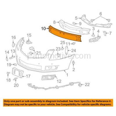 Aftermarket Replacement - BRF-1292F 2010-2016 Cadillac SRX (Base, Luxury, Performance, Premium) Front Upper Bumper Impact Face Bar Cross Reinforcement Primed Steel - Image 3