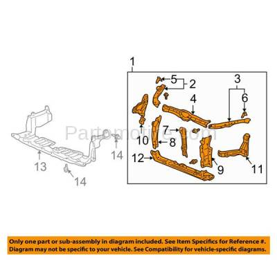 Aftermarket Replacement - RSP-1002 2002-2006 Acura RSX 2.0L (Base & Type-S) Coupe 2-Door (2.0 Liter Engine) Front Center Radiator Support Core Assembly Primed Made of Steel - Image 3