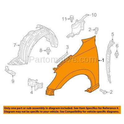Aftermarket Replacement - FDR-1386R 2016 Scion iA & 2017 2018 Toyota Yaris iA (1.5 Liter Engine) (Sedan 4-Door) Front Fender Quarter Panel Primed Steel Right Passenger Side - Image 3