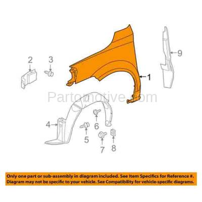 Aftermarket Replacement - FDR-1792R 05-09 Uplander Front Fender Quarter Panel Passenger Side RH GM1241323 88948582 - Image 3