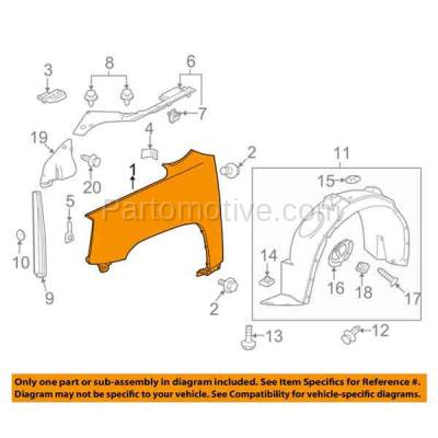 Aftermarket Replacement - FDR-1752R 2010-2017 GMC Terrain (2.4 & 3.0 & 3.6 Liter Engine) (Models with 3 Mounting Holes) Front Fender Quarter Panel Steel Right Passenger Side - Image 3