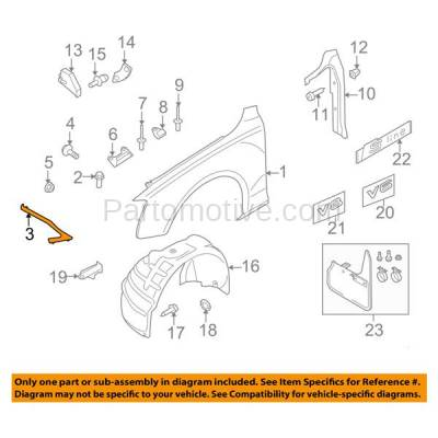 Aftermarket Replacement - FDS-1002R 09-12 A4/S4 Front Fender Brace Support Bracket Right Side AU1245103 8K0821136M - Image 3