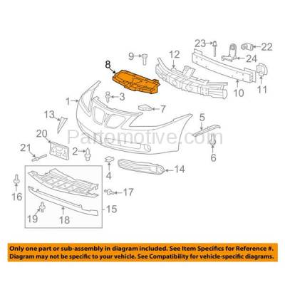 Aftermarket Replacement - RSP-1266 2005-2010 Pontiac G6 (Base, GT, GTP, GXP) Convertible/Coupe/Sedan Front Radiator Support Cover Upper Sight Shield Textured Plastic - Image 3