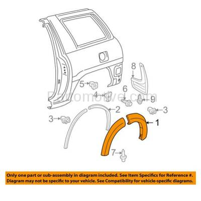 Aftermarket Replacement - FDT-1072R 01-05 RAV4 Rear Fender Molding Moulding Trim Arch Right Passenger Side TO1769101 - Image 3