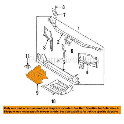 Aftermarket Replacement - ESS-1542R Front Engine Splash Shield Under Cover For 95-99 Maxima Passenger Side NI4151102 - Image 3