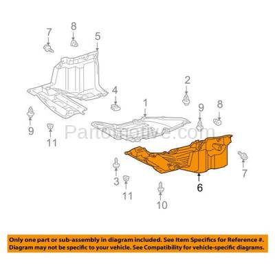 Aftermarket Replacement - ESS-1576L 00-05 Celica Front Engine Splash Shield Under Cover Guard Driver Side TO1228132 - Image 3