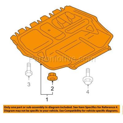 Aftermarket Replacement - ESS-1665 05-14 Jetta Front Engine Splash Shield Under Cover Guard VW1228104 1K0825237AE - Image 3