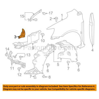 Aftermarket Replacement - FDS-1016R 12-17 Chevy Sonic Front Fender Brace Support Bracket RH Passenger Side 95024099 - Image 3