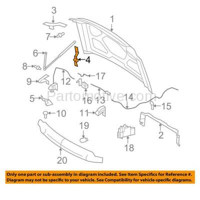 Aftermarket Replacement - HDH-1029R 2008-2010 Ford F250/F350/F450/F550 Super Duty Truck (Standard, Extended, Crew Cab) Front Hood Hinge Bracket Made of Steel Right Passenger Side - Image 3