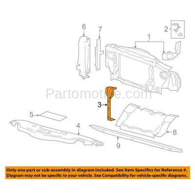Aftermarket Replacement - RSP-1182 2006-2008 Lincoln Mark LT & 2004-2012 Ford F-150 & 2004 F150 Heritage Center Radiator Support Core Vertical Bracket Hood Latch Support - Image 3