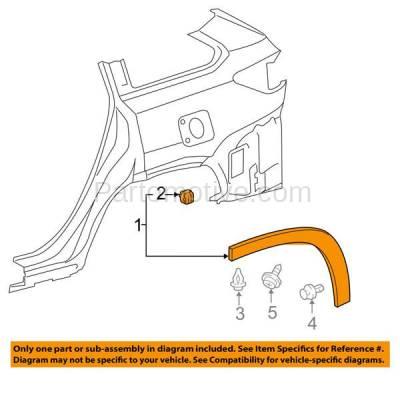 Aftermarket Replacement - FDT-1066R 14-16 Highlander Rear Fender Molding Moulding Trim Arch Passenger Side TO1791104 - Image 3