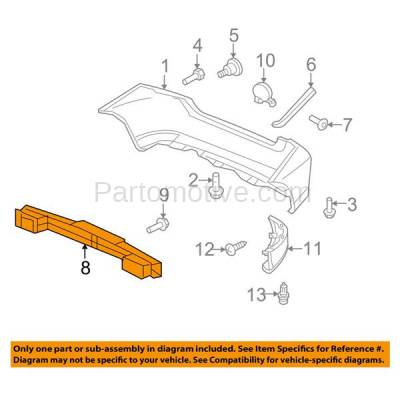 Aftermarket Replacement - BRF-1416R 2009-2014 Honda FIT (Hatchback 4-Door) Rear Bumper Impact Face Bar Crossmember Reinforcement Beam Primed Made of Steel - Image 3
