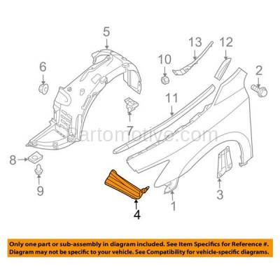 Aftermarket Replacement - FDS-1025L & FDS-1025R Front Fender Brace Support Bracket Fits 09-14 Maxima Left & Right Side PAIR SET - Image 3