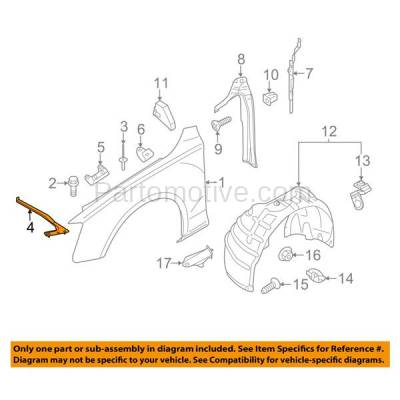 Aftermarket Replacement - FDS-1000L & FDS-1000R 13-16 A4/S4 Front Lower Fender Brace Support Bracket Left & Right Side SET PAIR - Image 3