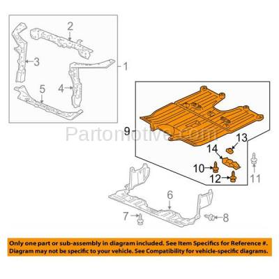 Aftermarket Replacement - ESS-1242 06-11 Civic Hybrid Engine Splash Shield Under Cover Guard HO1228135 74110SNCA00 - Image 3
