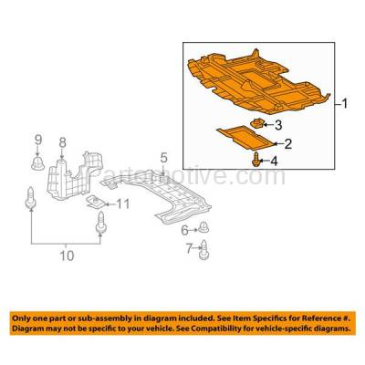 Aftermarket Replacement - ESS-1382 10-14 RX-350 Engine Splash Shield Under Cover Canada Built LX1228135 5141053111 - Image 3