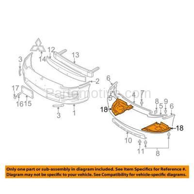 Aftermarket Replacement - ESS-1503R 00-05 Eclipse Engine Splash Shield Under Cover Passenger Side MI1228105 MR447606 - Image 3