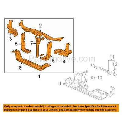 Aftermarket Replacement - RSP-1376 1999-2001 Honday Odyssey (Cargo, EX, LX) Passenger Van 5-Door (3.5 Liter V6) Front Radiator Support Core Assembly Primed Steel - Image 3