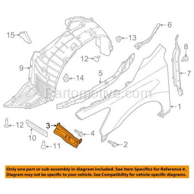 Aftermarket Replacement - FDS-1027R Front Fender Brace Support Bracket For 13-17 Altima 16-17 Maxima Passenger Side - Image 3
