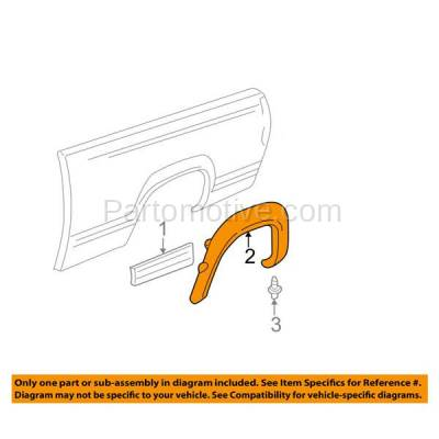 Aftermarket Replacement - FDT-1037R 99-04 Chevy Silverado Truck Rear Fender Flare Molding Moulding Trim Right Side - Image 3