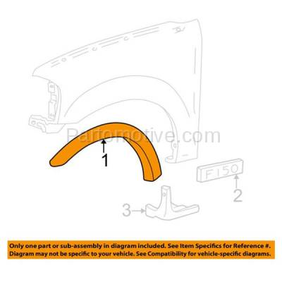 Aftermarket Replacement - FDF-1039L 97-04 F-Series Pickup Front Fender Flare Wheel Opening Molding Trim Driver Side - Image 3